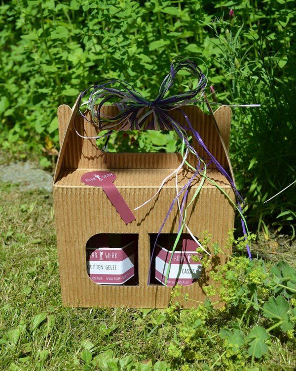 Tragekarton mit 2 Fruchtaufstrichen, ist auch als Dreierset erhältlich.