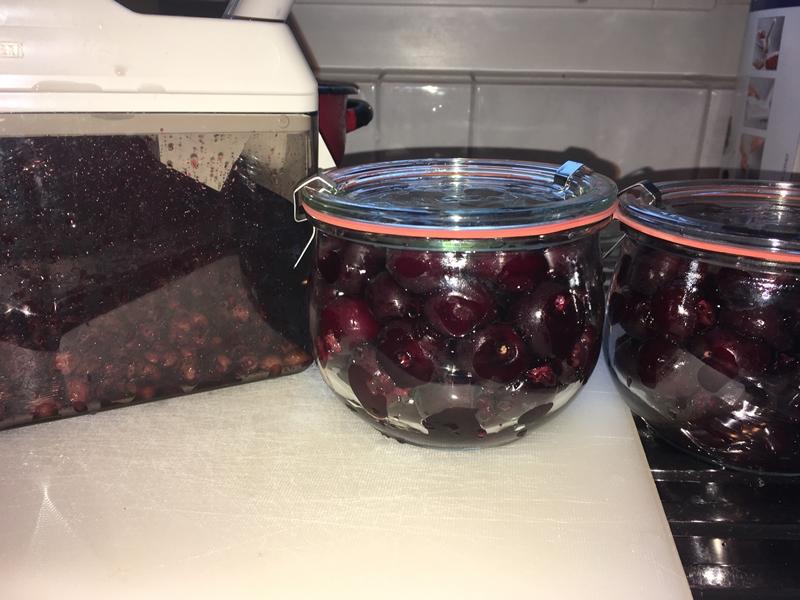 Kirschen werden entsteint und satt in ein Weckglas gefüllt.