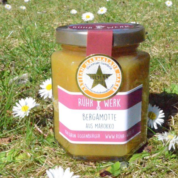 Marmelade aus Bergamotte aus Marocco, wunderbar aromatischer Fruchtaufstrich nach englischem Vorbild. Hat 2018 Gold an den World's original Marmalade Awards gewonnen.