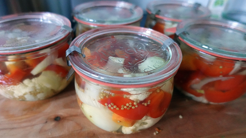 In Glaeser gefuellte Mixed Pickles, bereit zum Einkochen
