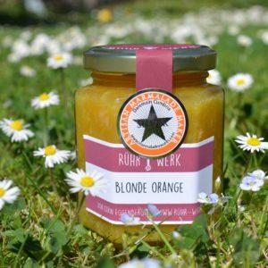 Marmelade aus ungespritzten Blondorangen. Dafür hat Rühr-Werk 2017 an den Word origninal Marmalade Awards in England einen Goldaward gewonnen.