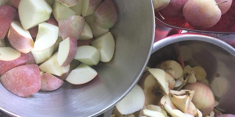 Drei Schüsseln, eine mit ganzen Äpfeln, eine mit gerüsteten Äpfel und eine mit Rüstabfall
