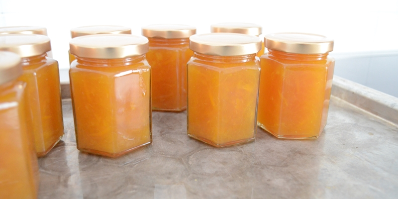 Verschlossene Marmeladengläser mit Blondorangenmarmelade