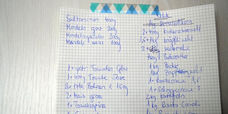 Handgeschriebene Liste aller vorhandenen Vorräte