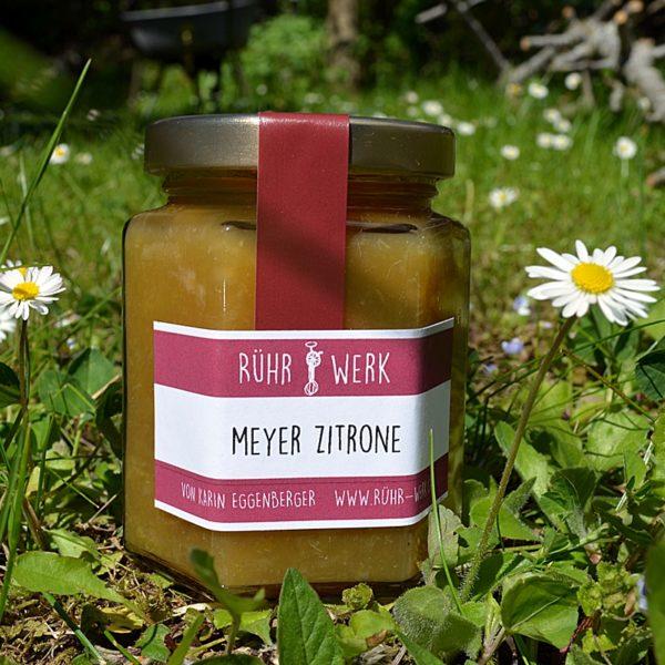 Glas mit Meyerzitronen Marmalade auf der Wiese fotographiert